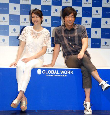 GLOBAL WORK『20TH ANNIVERSARY THE LAUNCH EVENT 2014』に出席した(左から)長澤まさみ、大沢たかお (C)ORICON NewS inc.