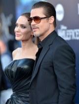 ハリウッドで開催された映画『マレフィセント』ワールドプレミアに来場したアンジェリーナ・ジョリーとブラッド・ピット