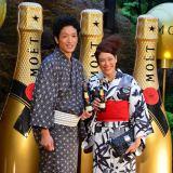『浴衣でモエ・エ・シャンドン』オープニングイベントに出席した、(左から)渡部豪太、LiLiCo (C)oricon ME inc.