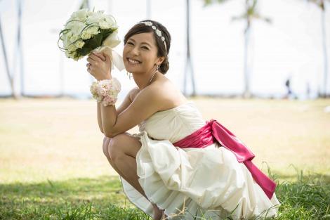 ハワイで挙式した神戸蘭子