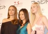 映画『マレフィセント』記者会見に登壇した(左から)アンジェリーナ・ジョリー、上戸彩、エル・ファニング (C)ORICON NewS inc.
