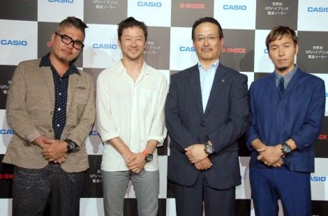 『ハイブリッド G-SHOCK』新製品発表会に出席した(左から)RYO-Z、浅野忠信、カシオ・中村寛氏、ILMARI (C)ORICON NewS inc.