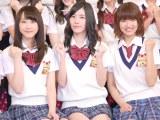 日本テレビ系バラエティー『SKE48 エビショー!』初回収録前に報道陣の取材に応じたSKE48の(左から)松井玲奈、松井珠理奈、宮澤佐江 (C)ORICON NewS inc.
