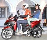 バイクの2人乗りを初体験した大島優子=ヤマハ新型バイク『LMW TRICIRTY』発表会 (C)ORICON NewS inc.