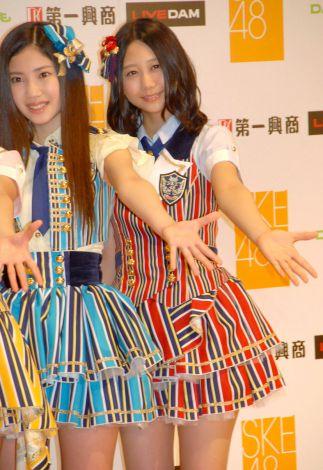 第一興商『SKE48 7期生メンバーオーディション』発表会に出席した(左から)北川綾巴、古畑奈和 (C)ORICON NewS inc.