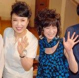帝国劇場10月公演『ユーミン×帝劇第2弾Yuming Songs…「あなたがいたから私がいた」』製作発表会に出席した(左から)松任谷由実、藤真利子 (C)ORICON NewS inc.