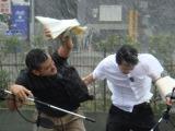 お笑いコンビ・デニス が体感型映画『イントゥ・ザ・ストーム』(8月22日公開)の日本語吹き替えに挑戦。実際に暴風雨を体験して役作り