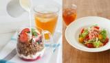 アフタヌーンティー・ティールームで26日より提供される新メニュー「苺とハニーフロマージュソースのグラノーラパフェ」と「海老とアボカドのサラダサンド」(同1430円)