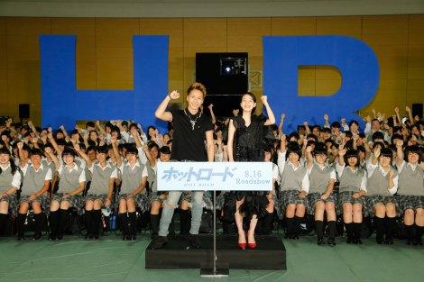 映画『ホットロード』の夏休み特別イベントの模様(左から)登坂広臣、能年玲奈(C)2014「ホットロード」製作委員会