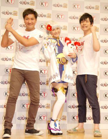 ゲーム『討鬼伝 極』完成発表会に出席した(左から)真栄田賢、川島明 (C)ORICON NewS inc.