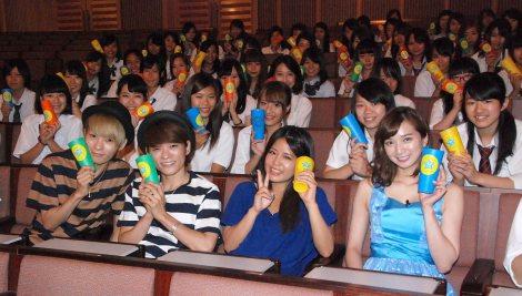 Suzuの新曲「LOVE TO YOU -by CUPS-」発売記念イベントに出席した(前列左から)広海・深海、Suzu、芹那 (C)ORICON NewS inc.