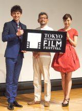 『第27回東京国際映画祭』記者会見に出席した(左から)岡本あずさ、庵野秀明、ハリー杉山 (C)ORICON NewS inc.
