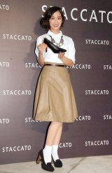 レトロな秋スタイルで登場した優香=シューズブランド『STACCATO』ローンチパーティー
