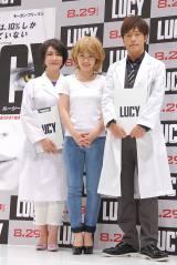 映画『LUCY/ルーシー』公開直前イベントに出席した(左から)中野信子氏、AKB48・川栄李奈、陣内智則 (C)ORICON NewS inc.
