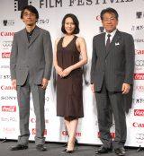 ラインナップ発表会に出席した(左から)吉田大八監督、中谷美紀、椎名保氏 (C)ORICON NewS inc.
