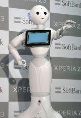 感情認識ロボット・Pepper=ソフトバンクモバイル新商品PRイベント