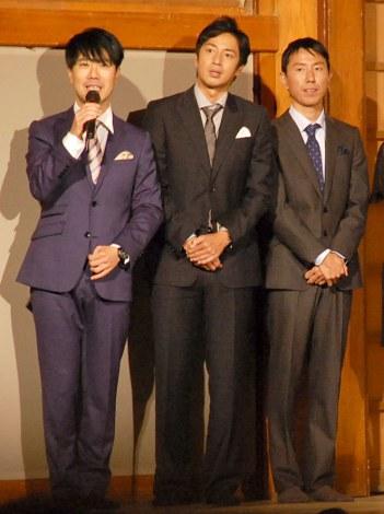 『第1回 京都国際映画祭』オープニングセレモニーに登壇した(左から)藤井隆、徳井義実、福田充徳