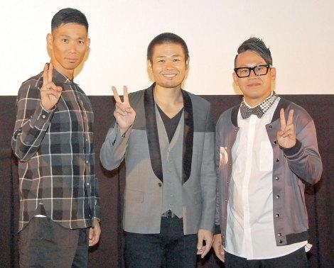 『第1回 京都国際映画祭』 映画『ドロップ』の舞台あいさつに出席した(左から)レイザーラモンHG、品川ヒロシ監督、宮川大輔 (C)ORICON NewS inc.