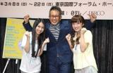 『ウィズ』AKB48グループ・メンバーオーディションで主演ドロシー役を勝ちとった田野優花(左)と梅田彩佳(右)。中央は演出の宮本亜門(C)De-View