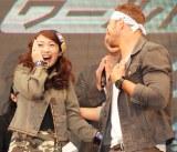 (左から)飯田圭織、ケラン・ラッツ=映画『エクスペンダブルズ3』PRイベント (C)ORICON NewS inc.