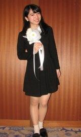 今年9月に制服向上委員会を卒業し、26日にラストライブを開催した小川杏奈(20)。ライブに先立って行われたトークイベントには紺のワンピース姿で登場。(C)De-View