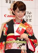 黒の着物姿で魅了した桐谷美玲=キヤノン『PIXUS スマフォトプリント!年賀状』新作CM発表会