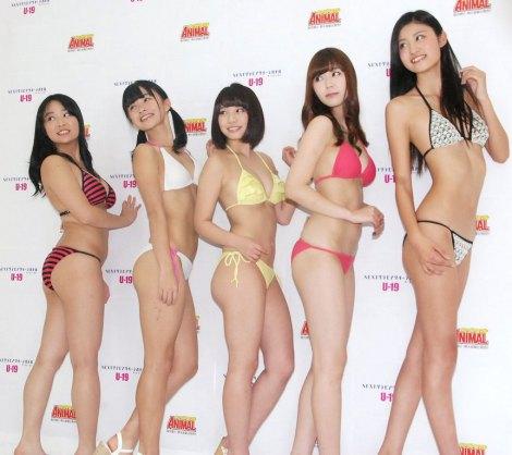 「NEXT グラビアクイーンバトル サードシーズン」お披露目記者会見に出席した(左から)ゆうみ、百川晴香、久松かおり、金子栞、Akira (C)ORICON NewS inc.