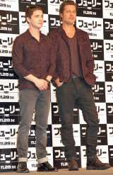 映画『フューリー』来日会見に登場した(左から)ローガン・ラーマン、ブラッド・ピット (C)ORICON NewS inc.