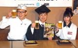 (左から)ロバート・馬場裕之、カラテカ・入江慎也、NMB48・山田菜々=居酒屋フリーマガジン『宴会JAPAN』発行記念イベント (C)ORICON NewS inc.
