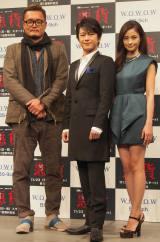 WOWOWの『連続ドラマW 悪貨』の完成披露試写会に登壇した(左から)権野元監督、及川光博、黒木メイサ