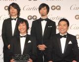 『GQ Men of the Year 2014』授賞記者会見に出席したウルフルズ(前列左から)ウルフルケイスケ、トータス松本、(後列左から)ジョンB、サンコンJr. (C)ORICON NewS inc.