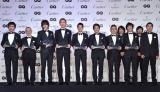 今年の『GQ Men of the Year 2014』は8組11名が受賞 (左から)劇団ひとり、鈴木敏夫プロデューサー、小栗旬、布袋寅泰、唐沢寿明、坂上忍、園子温監督、ウルフルズ
