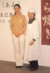 映画『あん』の制作発表記者会見に出席した(左から)河瀬直美、樹木希林 (C)ORICON NewS inc.