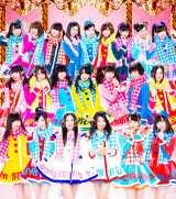 SKE48の新曲でセンターに起用された北川綾巴(前列左から3人目)と宮前杏実(同4人目)