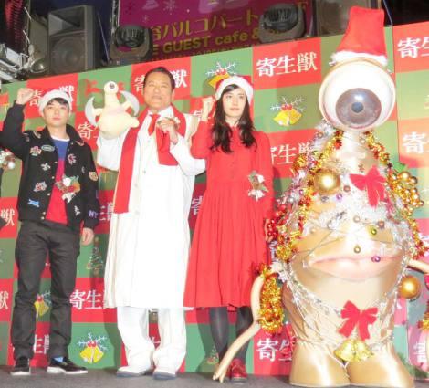 (左から)染谷将太、アントニオ猪木、橋本愛、ミギー (C)ORICON NewS inc.