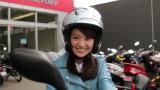 バイク免許取得し、初の公道走行に挑戦した大島優子