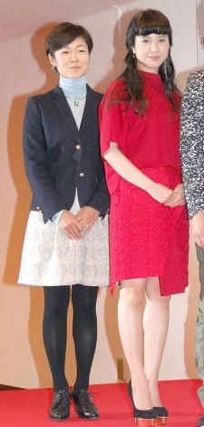 『第65回紅白歌合戦』初日リハーサルを行った(左から)有働由美子アナ、吉高由里子 (C)ORICON NewS inc.