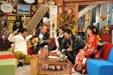 (左から2人目から)モト冬樹、松居直美、コロッケ、福田彩乃は物まねを披露。1月2日放送『新春大売り出し!さんまのまんま』(C)関西テレビ