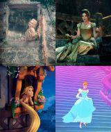 ラプンツェル(左)とシンデレラ(右)で『イントゥ・ザ・ウッズ』とアニメーションを比較(C)2015 Disney Enterprise,inc. All Rights Reserved.