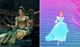 『イントゥ・ザ・ウッズ』のシンデレラ(左)とアニメーションのシンデレラ(右)(C)2015 Disney Enterprise,inc. All Rights Reserved.