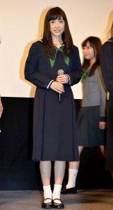 役衣装のセーラー服で登壇した優希美青=映画『でーれーガールズ』完成披露舞台あいさつ (C)ORICON NewS inc.