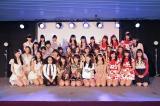 新しいガールズコンテンツサービス『LoGiRL』記者発表会に集合した女のコたち(ざっくり左から)東京パフォーマンスドール、アルミカン、ベイビーレイズJAPAN、LinQ、PASSPO☆、明坂聡美、みみめめMIMI(C)テレビ朝日