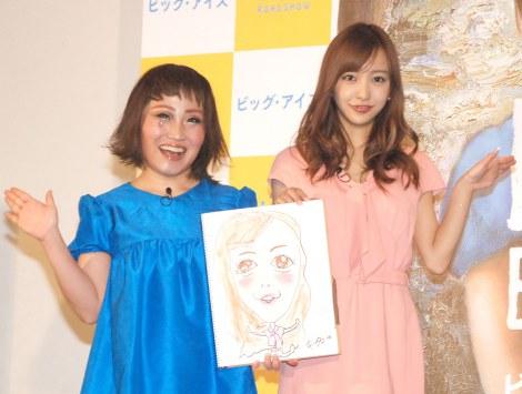 映画『ビッグ・アイズ』公開記念イベントに出席した(左から)キンタロー。、板野友美 (C)ORICON NewS inc.