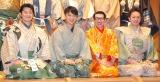 『現代狂言IX』公開げいこ&記者会見に出席した(左から)エネルギー(平子悟、森一弥)、岩井ジョニ男、三浦祐介 (C)ORICON NewS inc.