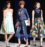 今季のキーワード「ワントーンコーデ」「デニム」「大花柄」を取り入れたファッション (撮影:片山よしお)