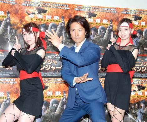 映画『ニンジャ・アベンジャーズ』来日記者会見に出席した(左から)吉田早希、ケイン・コスギ、川井優沙(C)ORICON NewS inc.