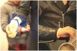 (1)コブクロの2人が、心拍数を測定するバンドを装着(黒田が青、小渕が赤)