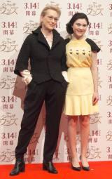 映画『イントゥ・ザ・ウッズ』来日記者会見に出席した(左から)メリル・ストリープ、リラ・クロフォード
