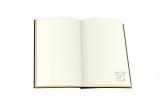 中面にもロゴがあしらわれているノートブック(ハードカバー仕様、全192ページ)