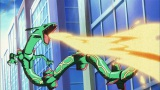 """『ポケモン・ザ・ムービーXY「光輪(リング)の超魔神 フーパ』(7月18日公開)より。【レックウザ】「裂空の訪問者デオキシス」(2004年)。今回の映画には""""黒いメガレックウザ""""として登場する"""